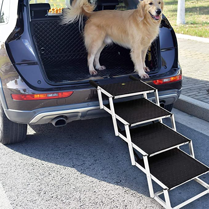 SUV and High Bed Niubya Folding Car Dog Steps Stairs Lightweight Aluminum Portable 6 Step Pet Ladder Ramp for Medium and Large Dogs to Get into Car Truck Supports 150-200 lb