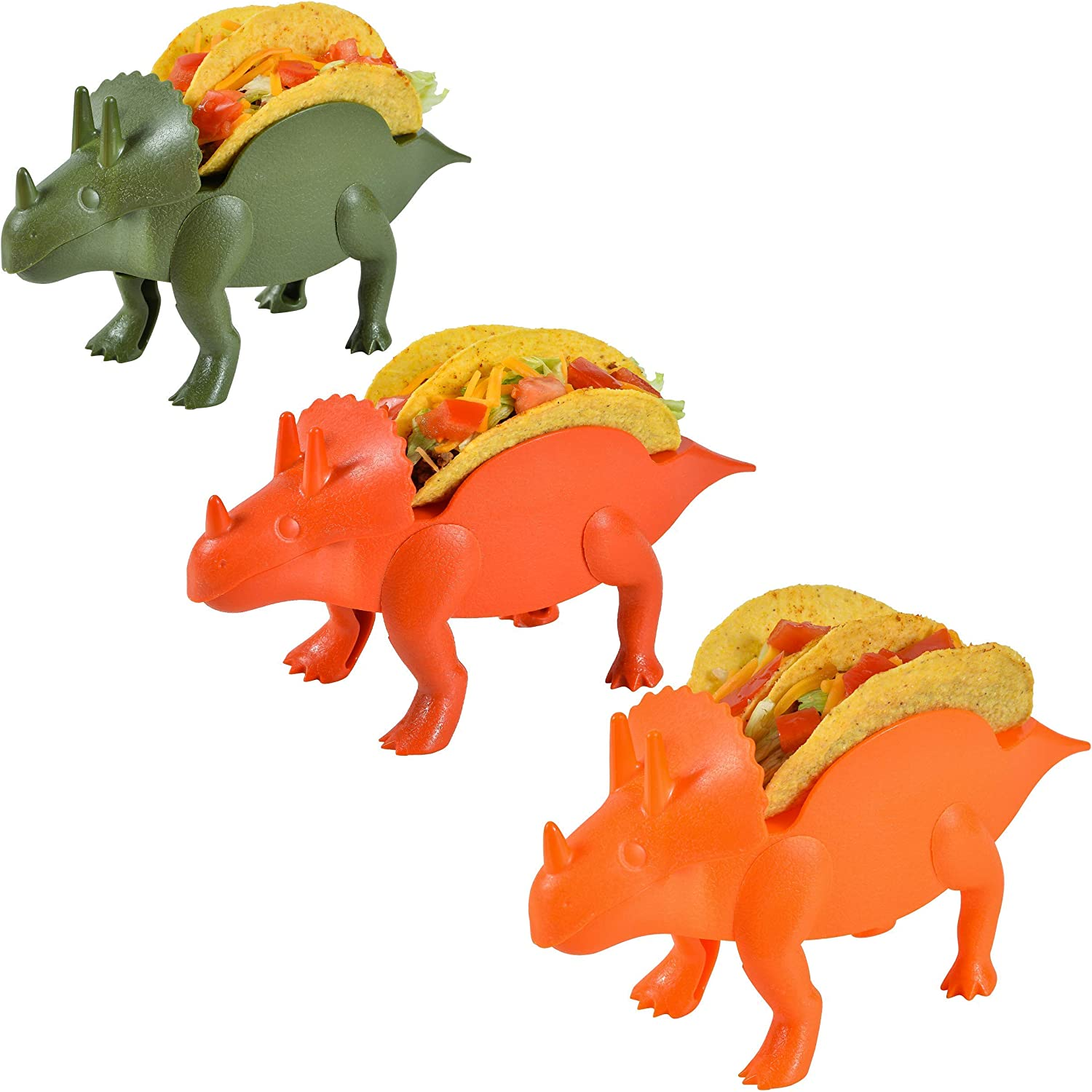 Jurassic Taco Holders - Red, Orange and Green Triceratops Dinosaur Food Server - Holds 6 Tortilla Shells - Non-BPA & Dishwasher Safe Plastic Containers - Novelty Kitchen Gift Ideas
