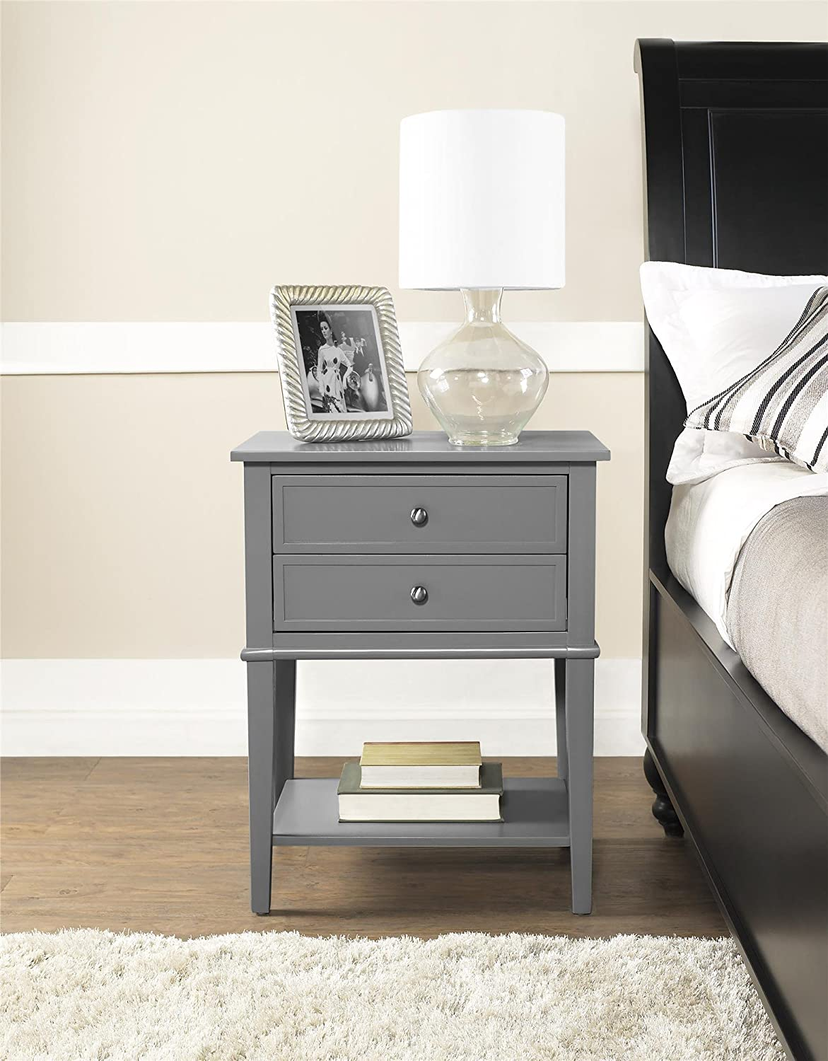 Amazon.com: Ameriwood Home Franklin Accent Table With 2 Drawers, Gray:  Kitchen U0026 Dining