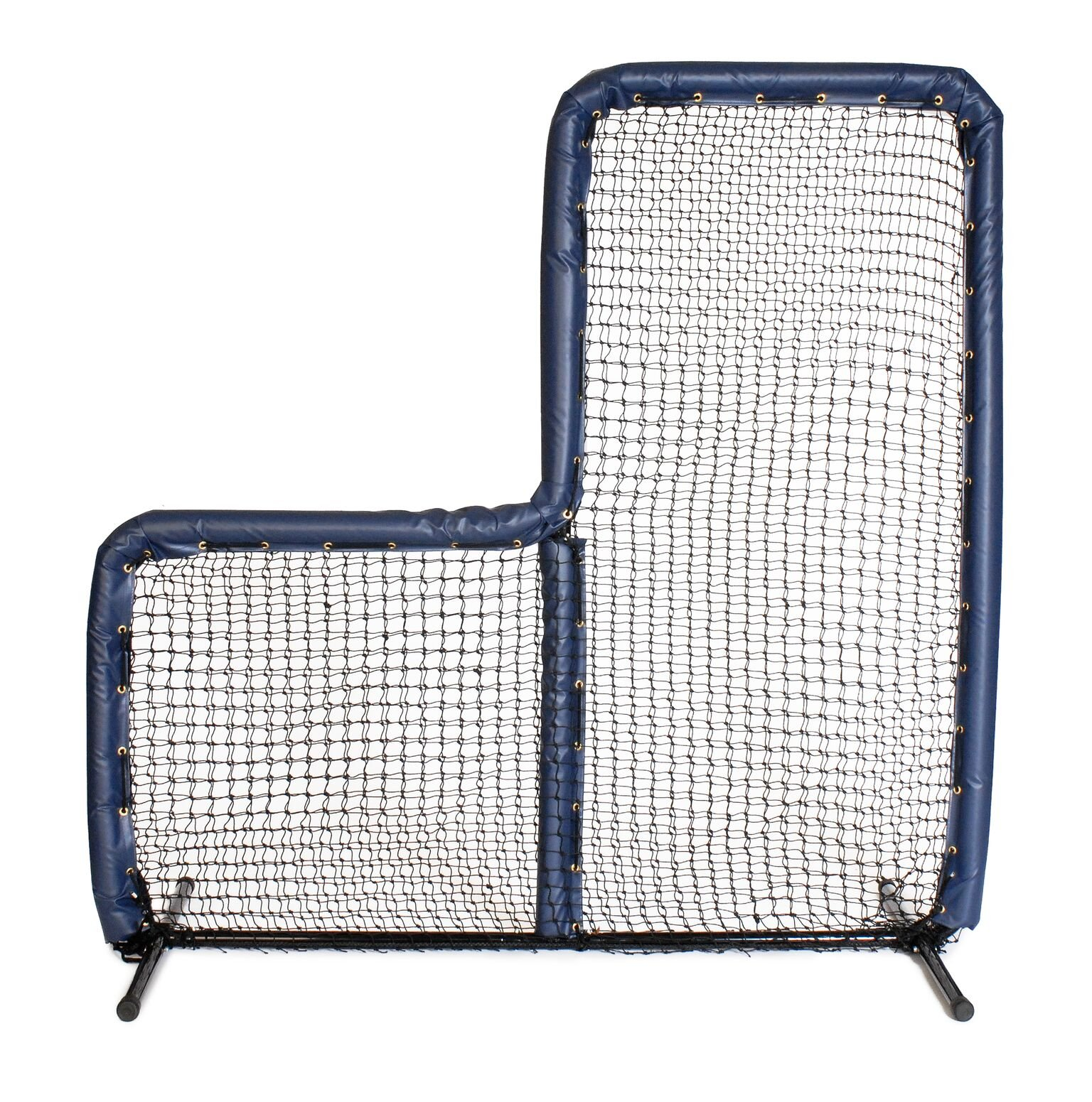 Armor Series Pitching Screen Baseball Softball Practice Net with Screen Bulletz Leg Caps. 7x7 L-Screen Perfect for Baseball and Softball Batting Practice. Choose Padding Color. (Navy) by Armor