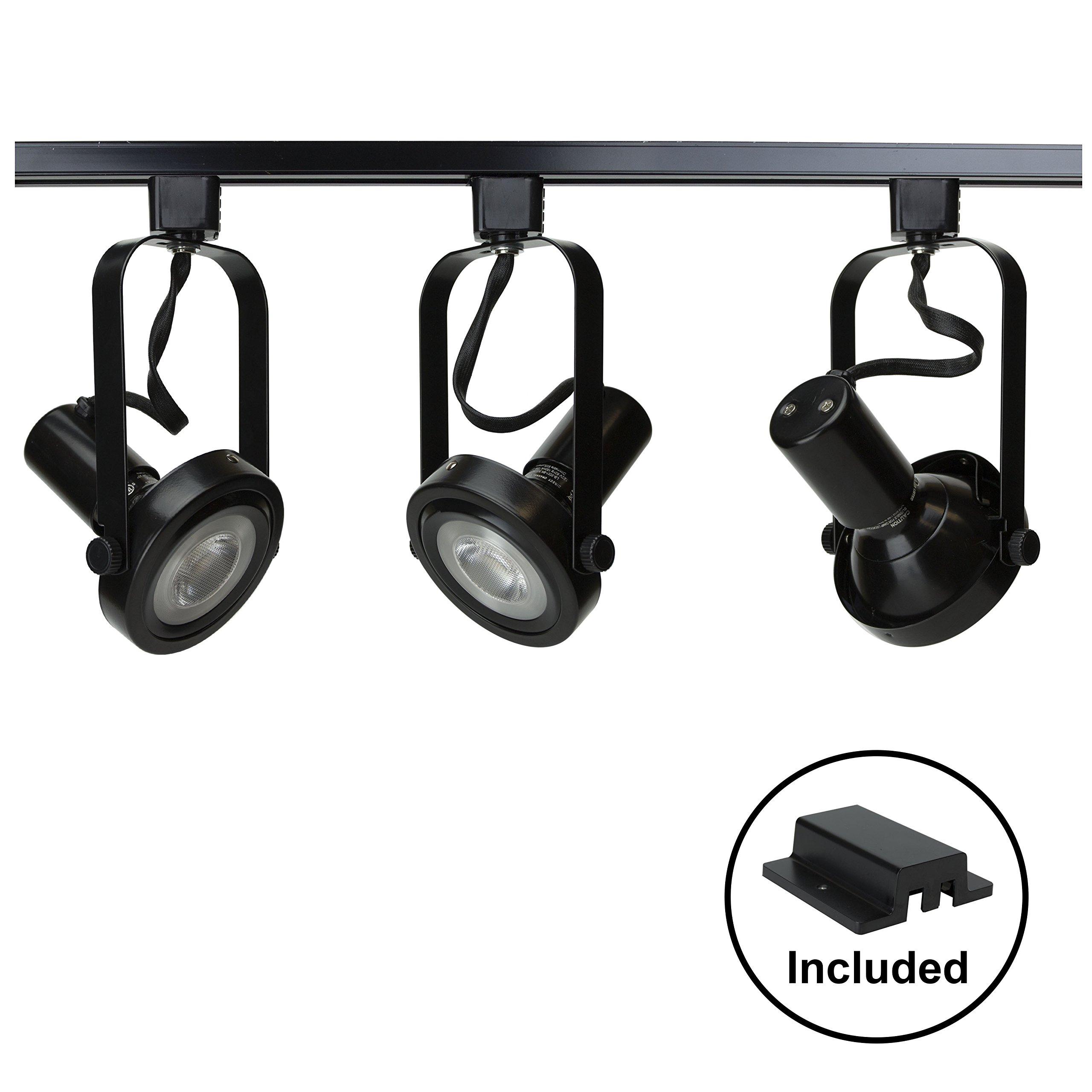 D&D Brand H System 3-Lights PAR30 LED Track Lighting Kit Gimbal Ring Rear Loading Black 3K Warm White HTC-9005-330K-BK Bulbs Included
