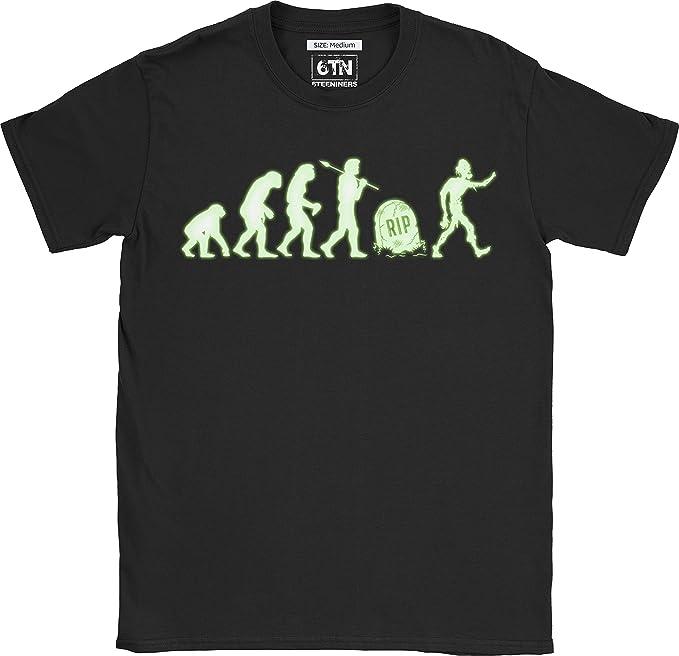 6TN Hombre Brilla en la Oscuridad Evolución de Zombies Camiseta: Amazon.es: Ropa y accesorios