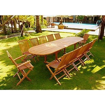 Concept-Usine Kajang: Salon de jardin Teck brut 12/14 pers - Table ...