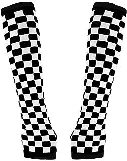 uxcell Streifen schwarz wei/ß Paar Damen Handschuhe Armstulpen H/ände
