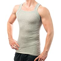Different Touch Men's G-unit Style Tank Tops Square Cut Muscle Rib A-Shirts, Pack of 2