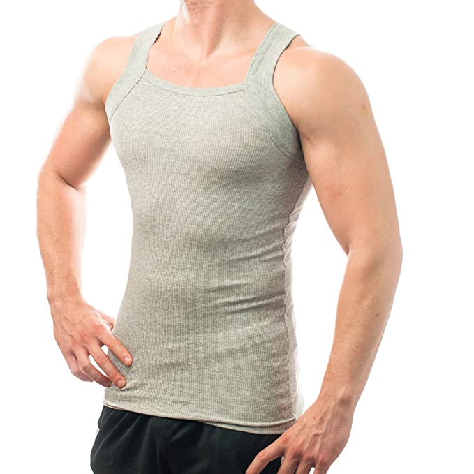6c31758ffea Different Touch Men's G-unit Style Tank Tops Square Cut Muscle Rib  A-Shirts, Pack of 2