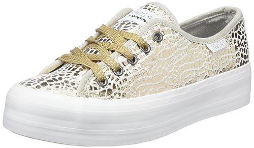 Conguitos Fantasía Metalizada, Zapatos de Cordones Derby para Niñas, Dorado (Platino), 35 EU: Amazon.es: Zapatos y complementos