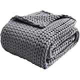 Zonli Cooling Weighted Blanket 15lbs Twin Handmade Knitted Chunky Blankets No Beads 48''x72'' Evenly Weighted Breathable Thro