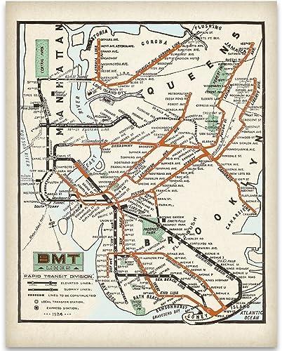 Amazon.com: 1925 New York City MTA Subway Lines Art Print - 11x14 ...