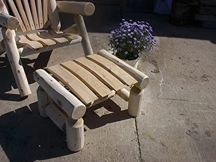 Pleasant Amazon Com White Cedar Log Ottoman Foot Stool Patio Dailytribune Chair Design For Home Dailytribuneorg