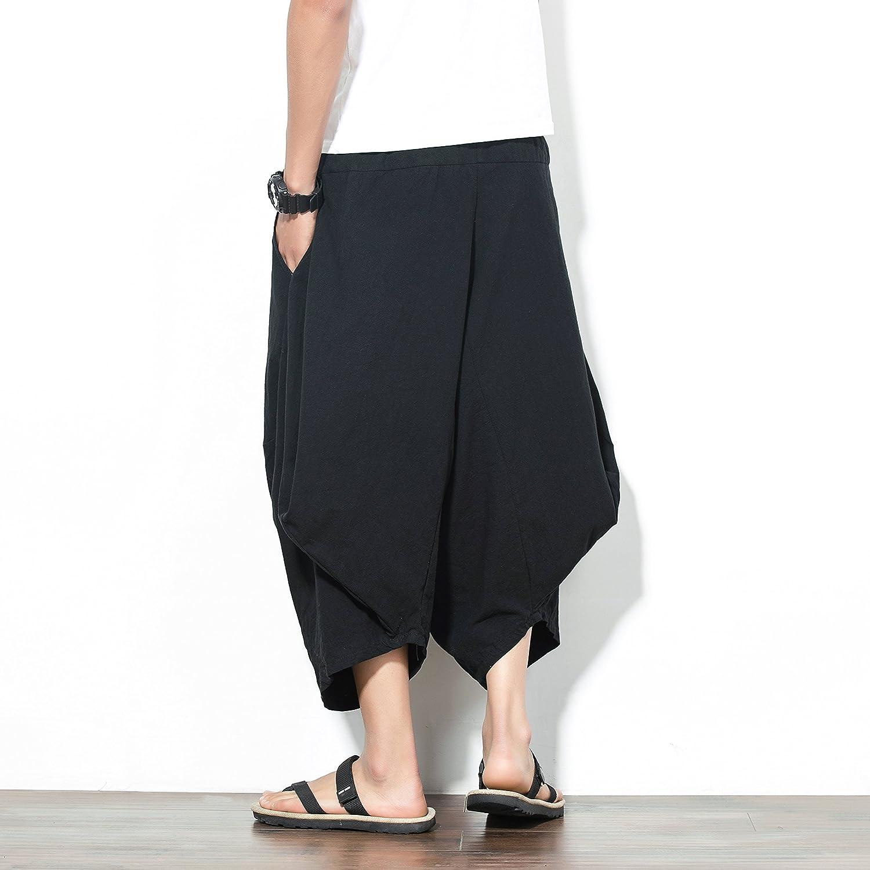 Mirecoo Uomo Estate Boho Hippie a gamba larga in cotone rigonfio Harem dei pantaloni con tasche