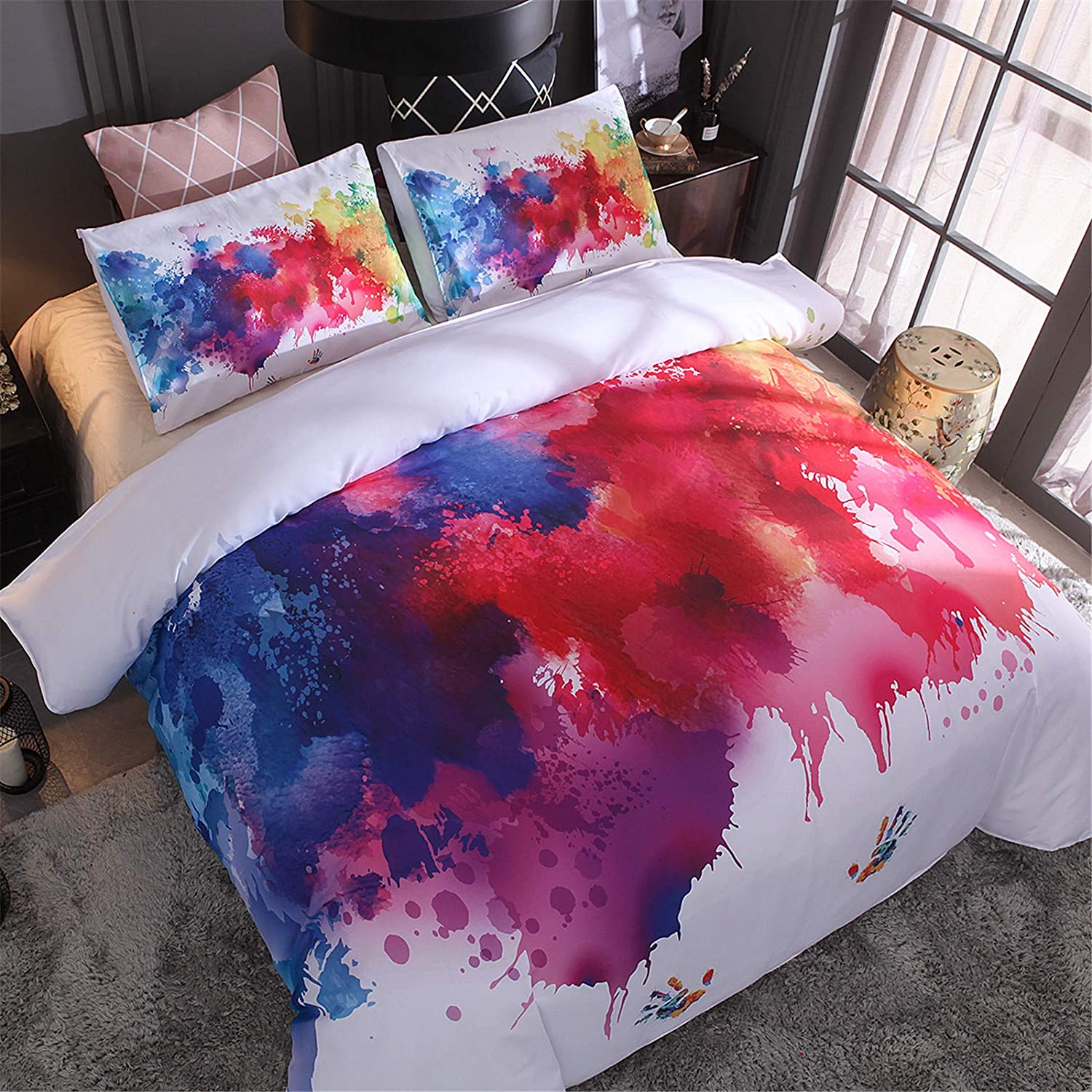 A Nice Night Watercolor Duvet Cover Set Multicolored Hand Decorative 3