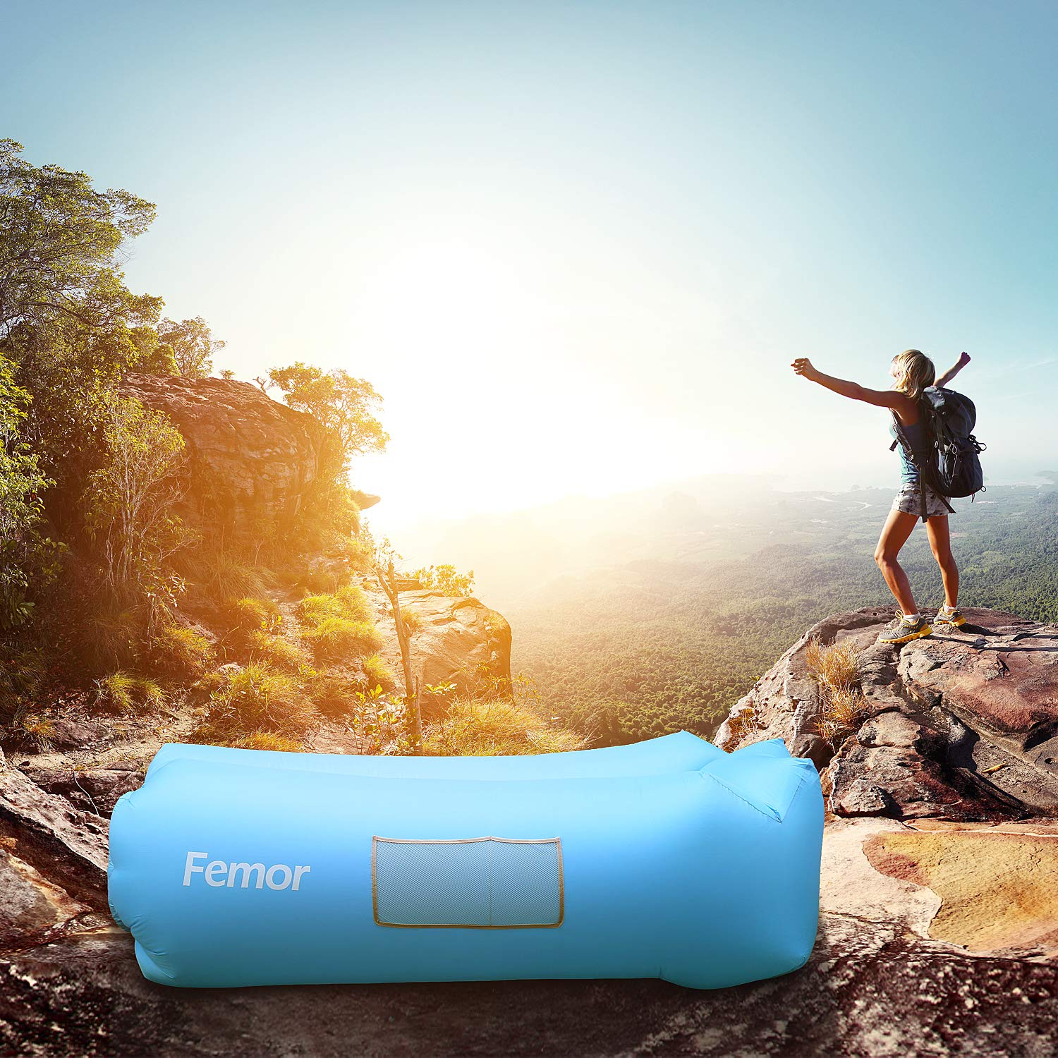 Blue Hiking femor Lounger Air Sofa Bed Inflatable,Water Proof/& Portable Anti-Air Leaking Couch for Patio Travelling Camping