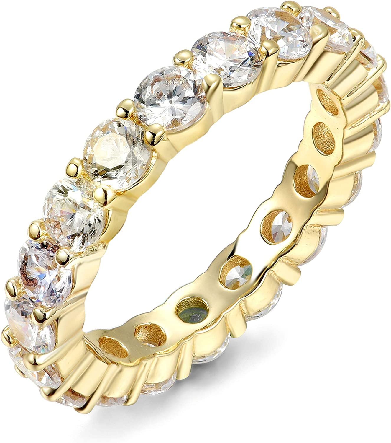 NYC Sterling 4MM Gold Cubic Zirconia Round Luxury Eternity Rings, Box Included