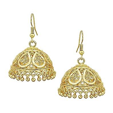 7602be9b3 Amazon.com: Bodha 18k Gold Plated Traditional Indian Jhumka Earrings  (SJ_442): Jewelry