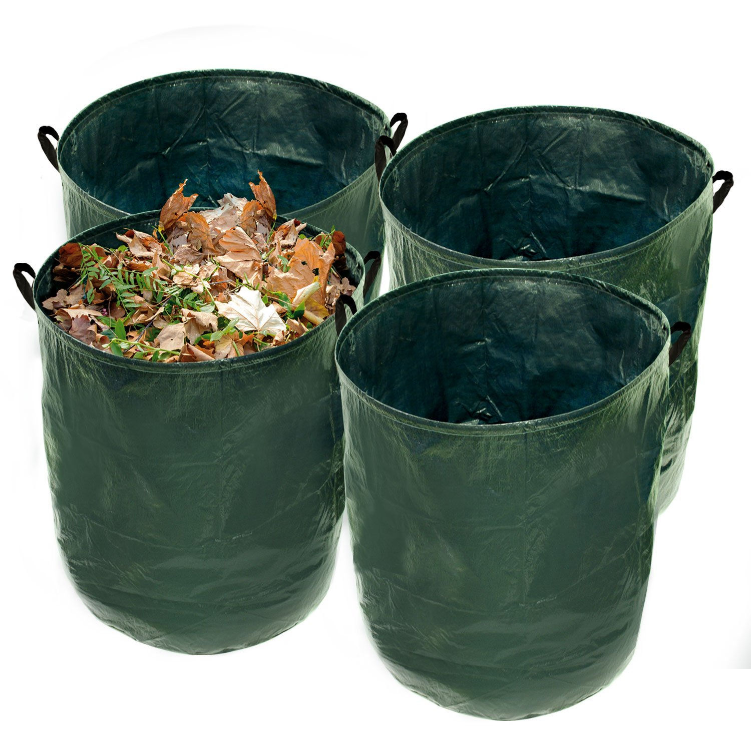 U.S. Garden Supply Durable 36 Gallon Reusable Garden Bags, 4 Pack - Yard Leaf Lawn Grass Waste Trash Container - Heavy Duty Collapsible Basket with Portable Handles by U.S. Garden Supply