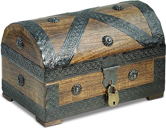 Brynnberg - Caja de Madera Cofre del Tesoro con candado Pirata de Estilo Vintage, Hecha a Mano, Diseño Retro 24x16x16cm: Amazon.es: Hogar