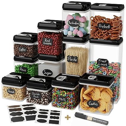 Captivating Chefu0027s Path Airtight Food Storage Container Set   12 PC Set   16 BONUS  Chalkboard Labels