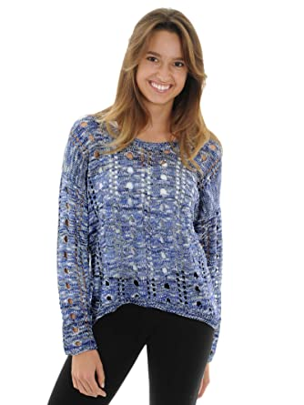 0277231a8 Romeo   Juliet Couture Womens Blue Marl Sweater Open Knit Hi Low Hem Sizes   Small