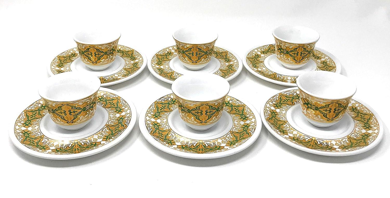 Art Design #13 Interway Trading TeaandMirra28 18 Piece Handmade Turkish Tea Glasses and Saucers Set with Arabic Mirra Coffee set Set of 6
