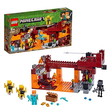 Lego 21154 Minecraft Bridge Alex Minifigure Wither Skeleton Figure Lava And Blaze Mob Elements The Nether Micro World Toys For Kids