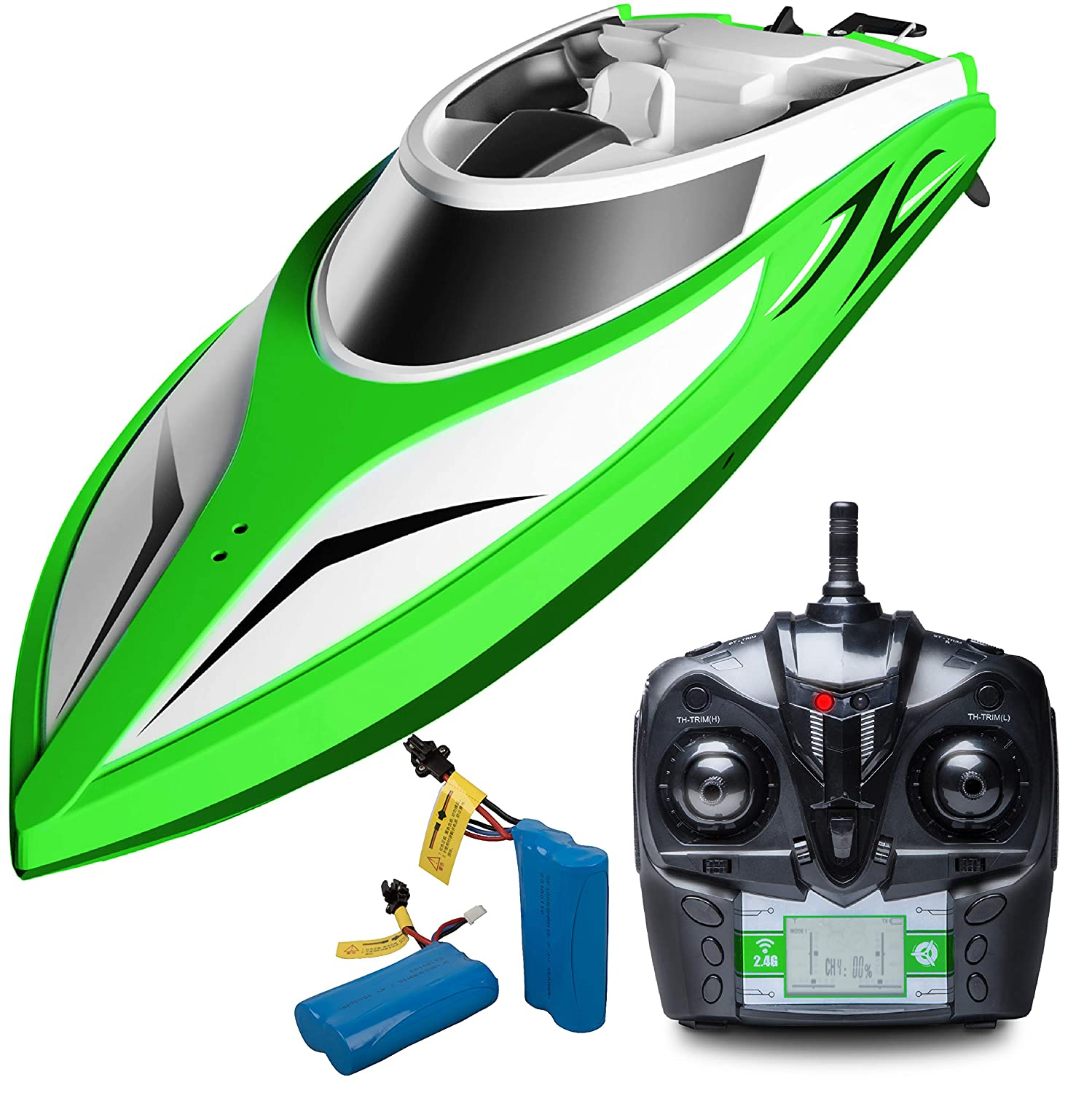 Remote Control Boats for Pools and Lakes - H105 High Speed Remote Controlled Boat, Self Righting Brushless RC Boats for Kids or Adults (Green/Large)