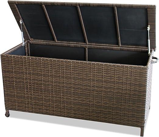 Jardín Caja Baúl arcón Cojín Caja Caja Caja para guardar Cojín baúl – con hub automático, 134 x 56 x 65 cm, ratán, Roll Bar, color marrón: Amazon.es: Jardín