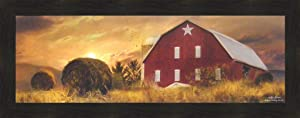 Home Cabin Décor Bedford County Sunset by Lori Deiter 16x40 Framed Art Print Picture Red Barn Star Hay Bales Country Farm Photo