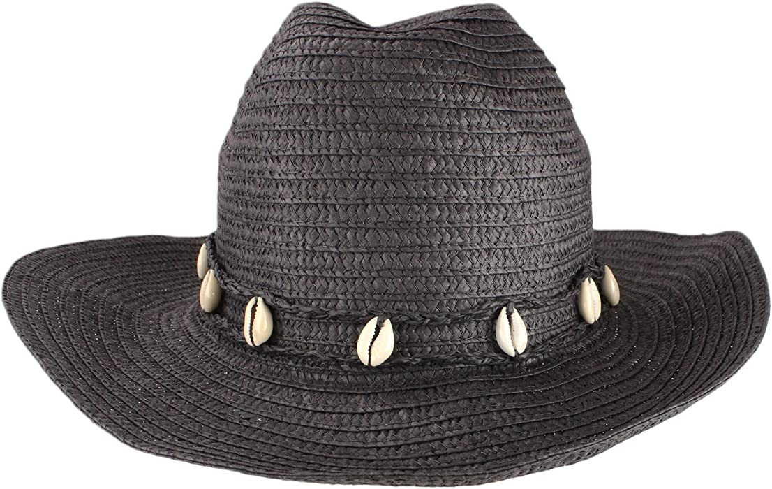8c4b8ae62559f bogo Brands Paper Raffia Black Cowboy-Style Sun Hat With Seashell Accent by  at Amazon Women s Clothing store