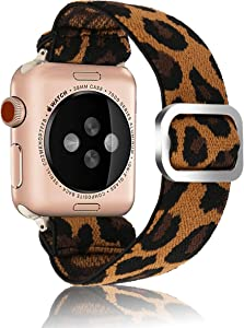 Adjustable Elastic Strap Band for Apple Watch, 38mm 40mm, Ladies and Girls Band Strap Bracelet Leopard Scrunchie Watch Band for iWatch Series 1 2 3 4 5 6 SE
