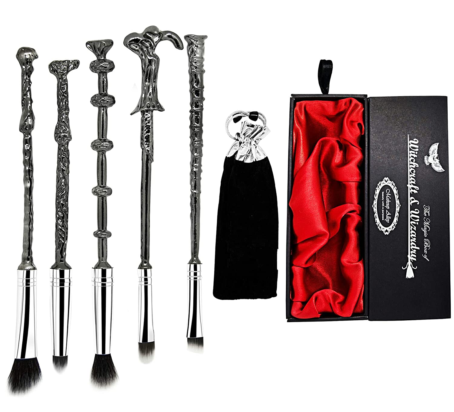 MakeupAlley Harry Potter Wand Makeup Brush Set - 5 Metal Magic Wands Wizard Brushes in a Gift Kit Bag and Box - Perfect for Eyebrows, Eyeshadow Palette, Foundation, and Powder use