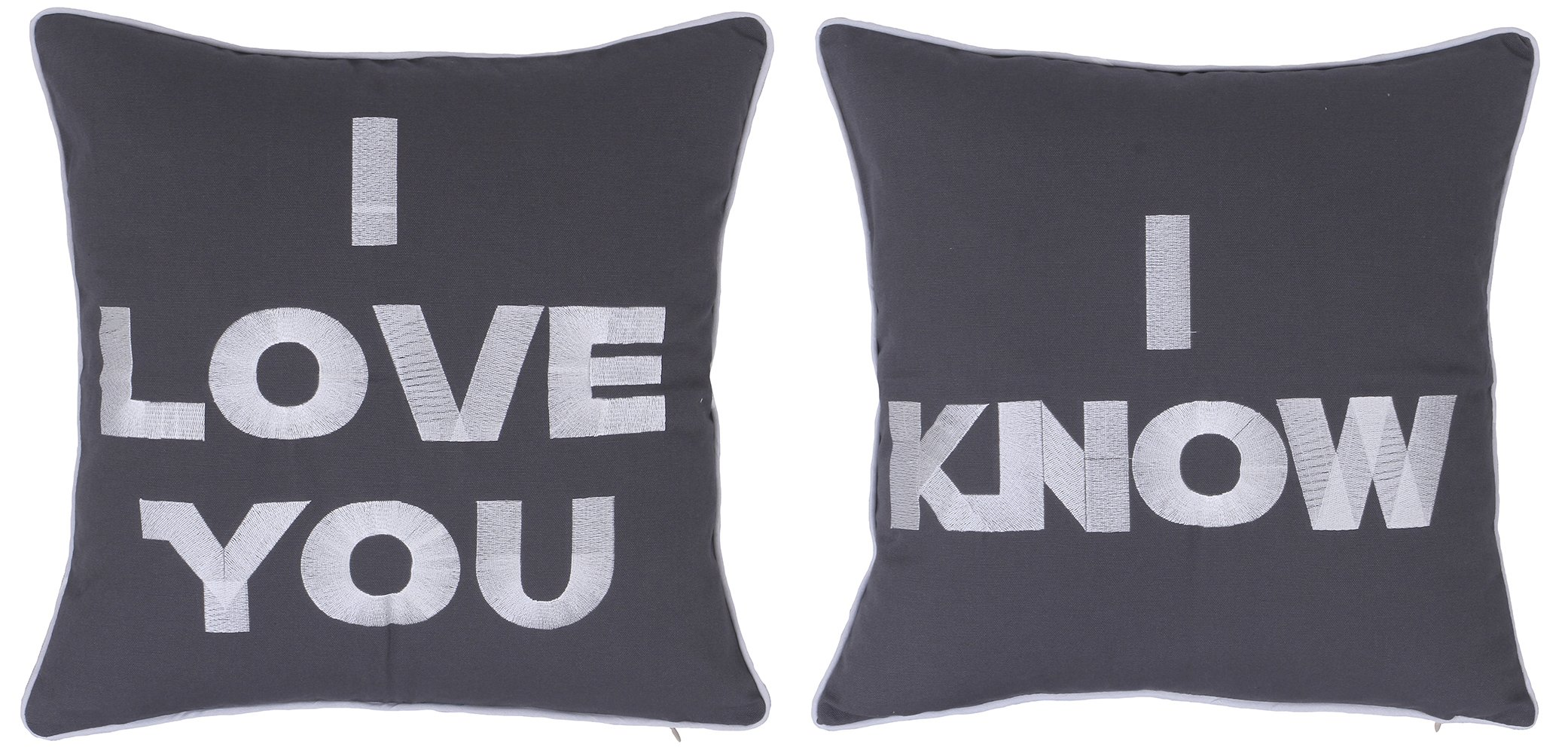 DecorHouzz I Love u I know Set of 2 Pcs Embroidered Pillow Case Pillow Cover Decorative Pillow Cushion Cover 18x18 Gift for Couple Wedding Anniversary (Charcoal)