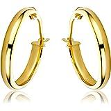 Miore women's 9ct Yellow Gold Plain Hoop Earrings of 1.85cm