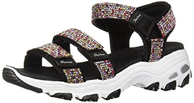 Skechers Womens DLites-Bright Light-Multi Rhinestone Quarter Strap Sport Sandal, Black, 11 M US