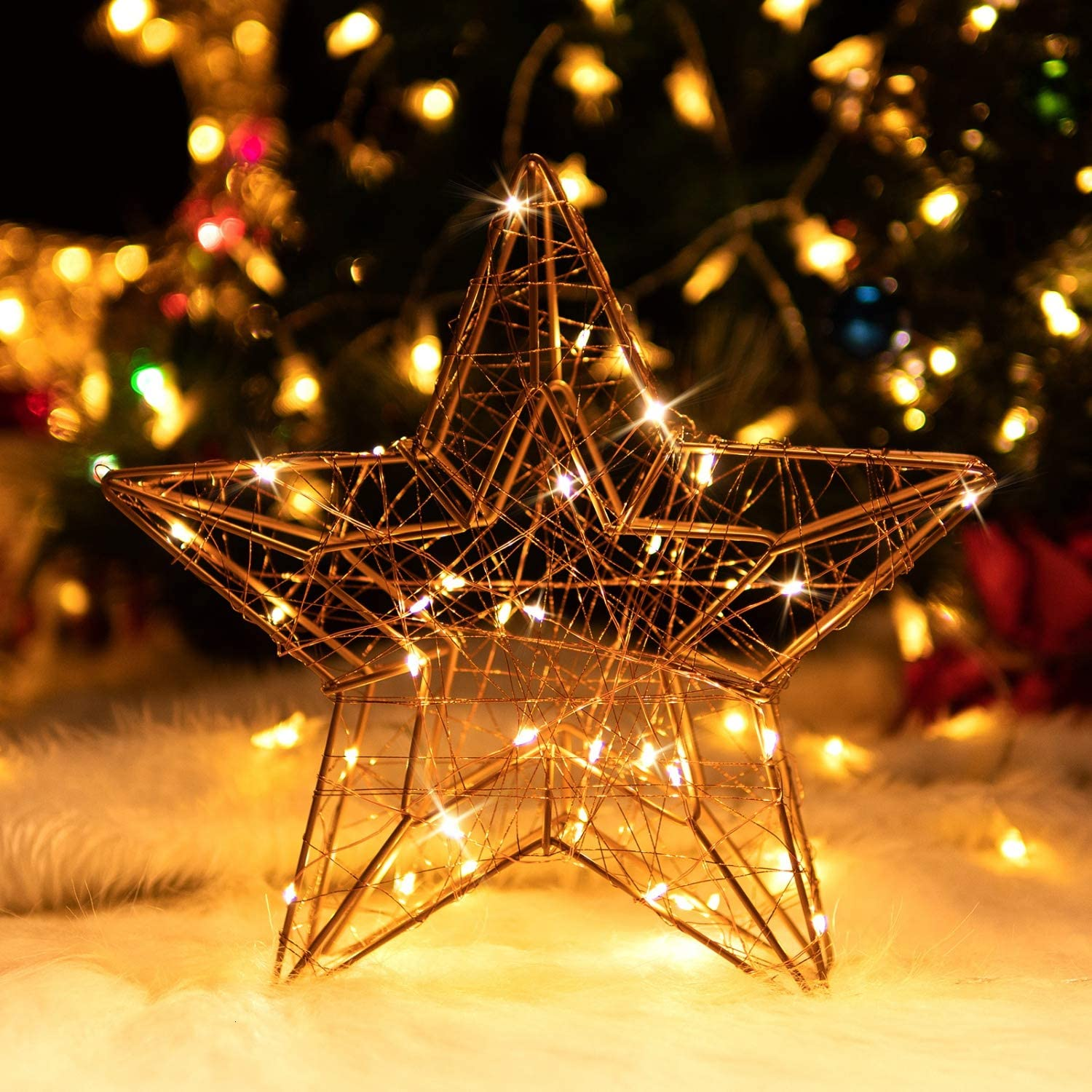 1 Pack Rocinha Lighted Christmas Decorations,Christmas Mantel Decorations,LED Star Shaped Lights,LED Decorative Light for Thanksgiving Christmas Holidays Home d/écor /& Ideal Gifts