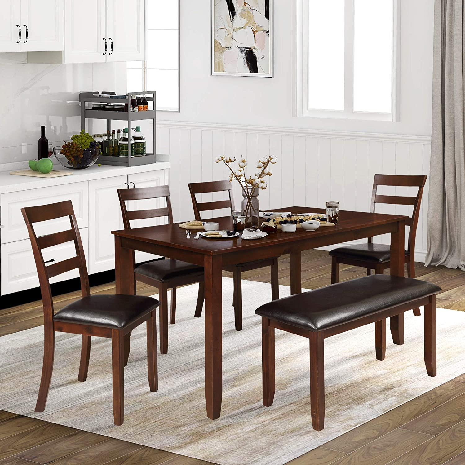 Amazon Com P Purlove 6 Piece Dining Table Set 6 Piece Wood Rectangular Kitchen Table Set With 4 Pu Leather Padded Chairs And 1 Bench For Kitchen Walnut Table Chair Sets