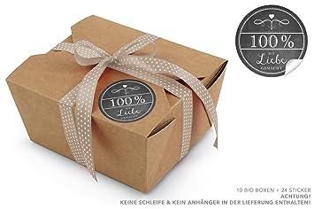 10 marrón bio Cajas + 24 100% con Liebe gemacht en negro de pegatinas en