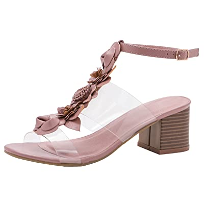 Cambridge Select Women's T-Strap Clear See Through Flower Mixed Media Chunky Stacked Block Heel Open Toe Sandal: Shoes