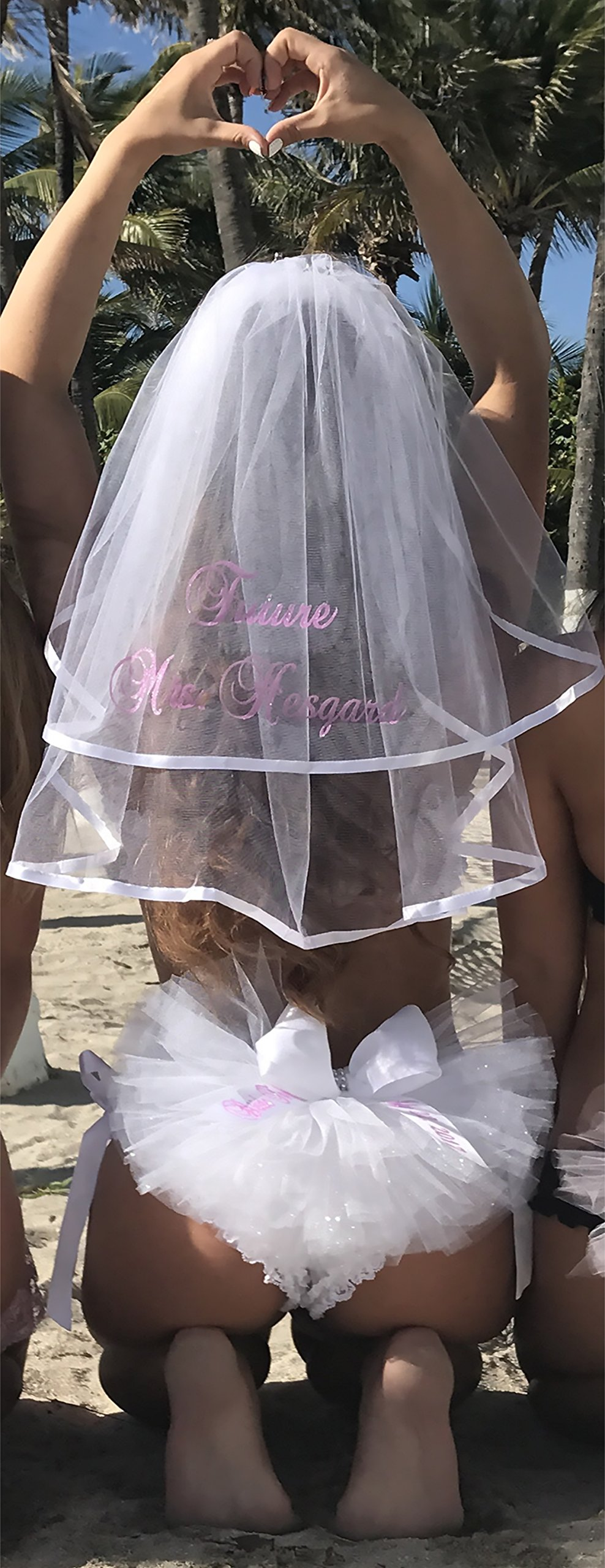 Bride's Booty Veil and Hair Veil (Booty Cover, Bikini Veil, Butt Veil) PERSONALIZED 2 piece set for only $55. this is an $60.00 VALUE (if purchased separately)