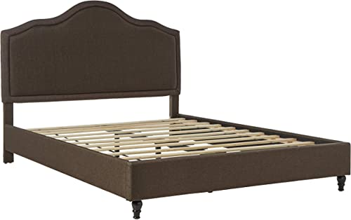 Home Life Cloth Brown Linen 51″ Tall Headboard Platform Bed