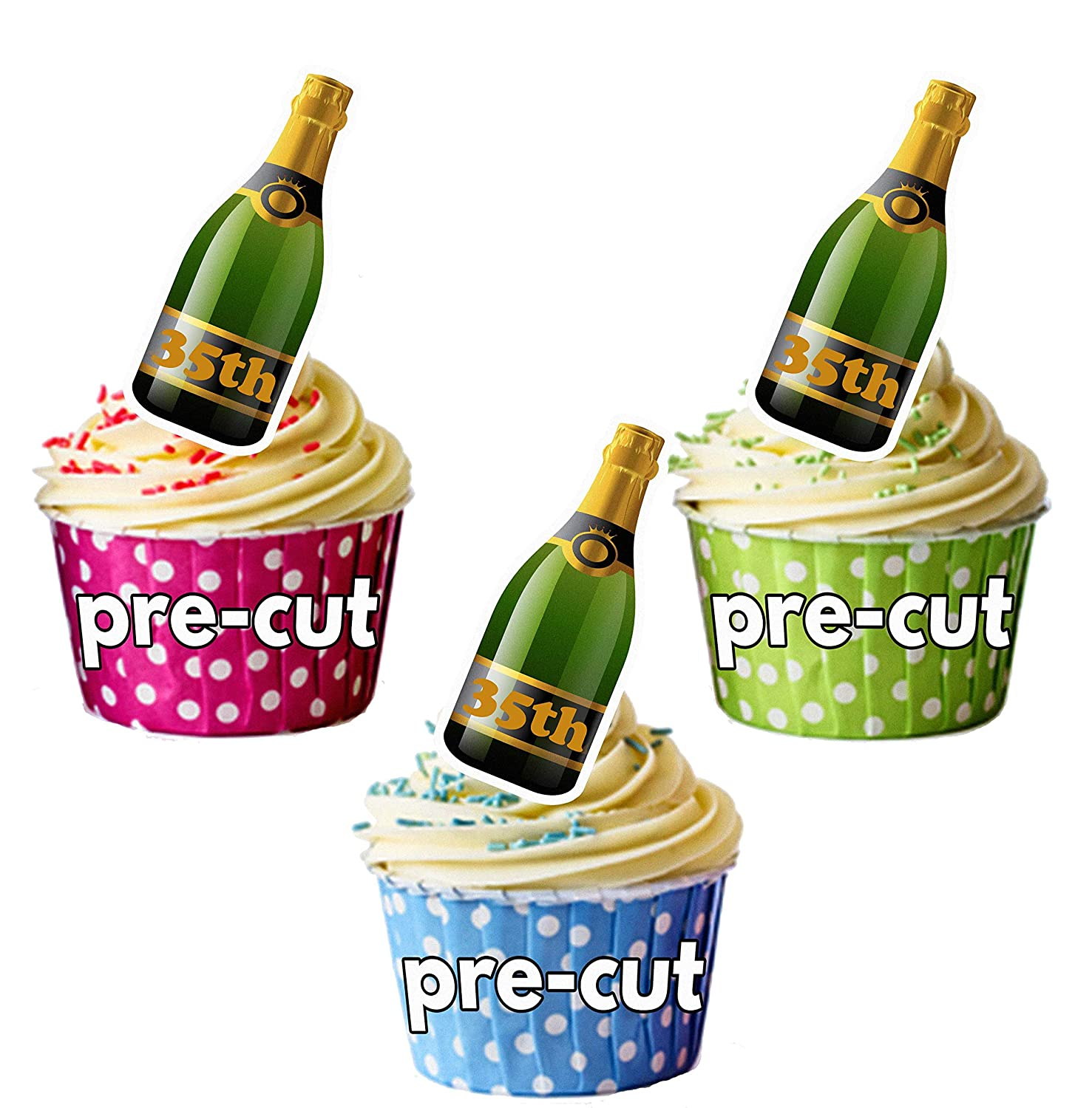 PRE-CUT 35th Champagne Bottle - Edible Cupcake Toppers Birthday/Anniversary Cake Decorations (Pack of 24)
