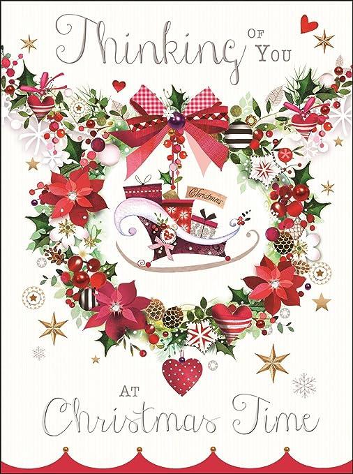 Thinking of You tarjeta de Navidad - casa tradicional y ...