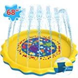 "Sprinkler Pad for Kids Toddlers ,0.44mm Thicker 68"" Splash Pad Play Mat Summer Outdoor Water Toys Swimming Pool, Large Baby Kiddie Wading Pool for Kids Boys Girls Sprinkler Pool for Learning Age 1-12"