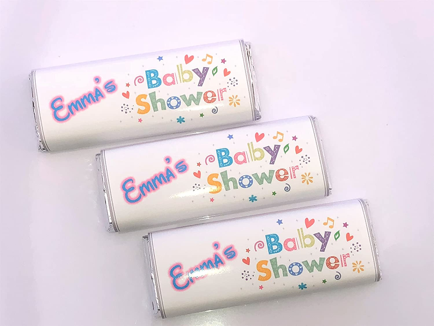 100 DIY Personalised Baby Shower Chocolate Bar /& Sweet Bag WRAPPERS Favours Ref B7M