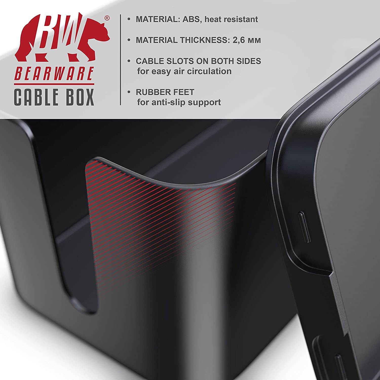 Bo/îte pour c/âbles avec pied en Caoutchouc Bo/îte Cache c/âbles bo/îte de rangement Organisateur de Multiprise Gestion de c/âbles| Bo/îtier de c/âbles Organiseur de c/âbles Bearware Noir