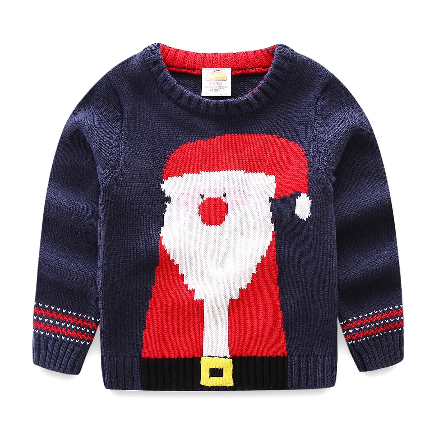 UWESPRING Little Boy Crewneck Santa Knit Sweater Pullover Christmas Clothes Made in China