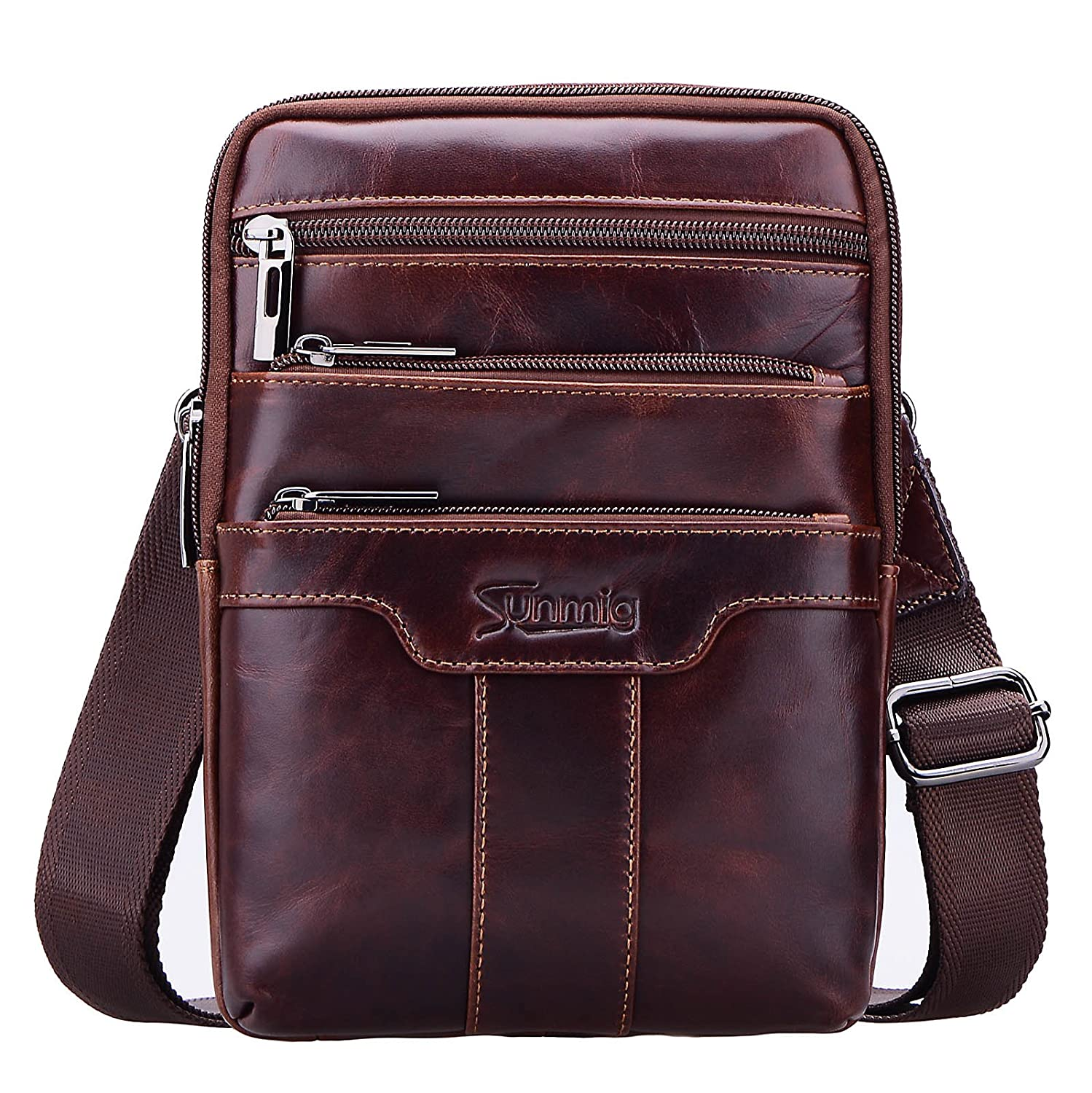 Sunmig Men's Vintage Genuine Leather Shoulder Bag Messenger Bags 10477962