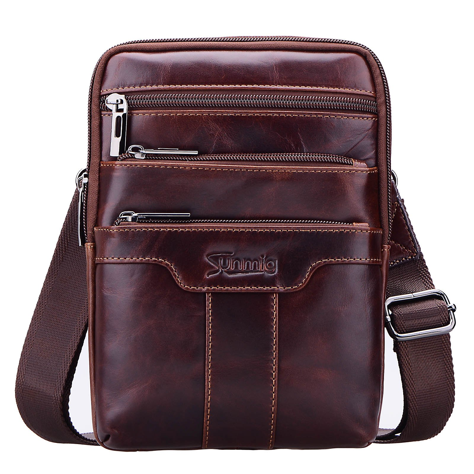 Sunmig Men's Vintage Genuine Leather Shoulder Bag Messenger Bags (brown-3803)