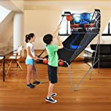 MD Sports 2-Player Foldable Arcade Basketball Game Features 8 Different Game Options Includes 3 Basketballs and Air Pump