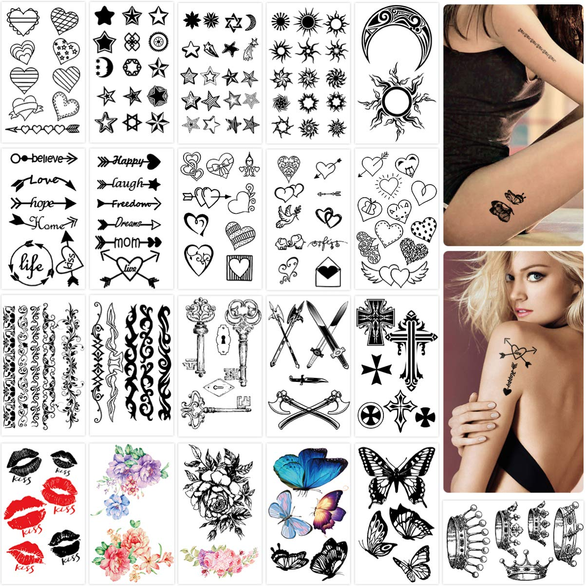 Tattoo stickers, Tiny Waterproof Fake Tattoos Temporary Tattoos Body Art Sticker for Adults, 42 Sheets